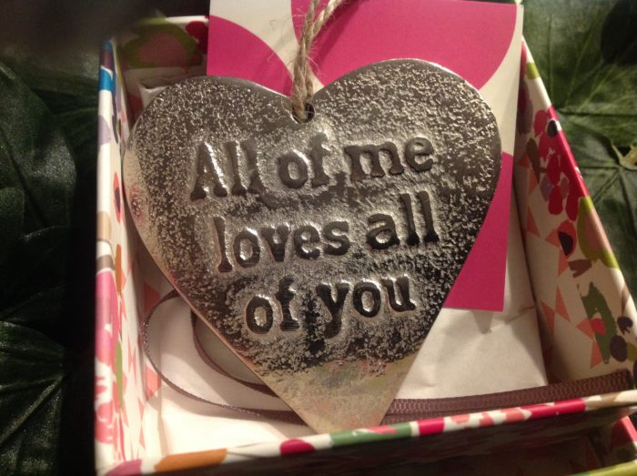 Cast iron Heart with love quote